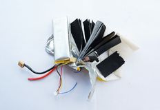Inside the lithium polymer lipo battery Royalty Free Stock Photography