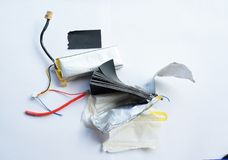 Inside the lithium polymer lipo battery Stock Images