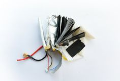Inside the lithium polymer lipo battery Stock Image