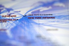 Close up look at Map details highlight cleveland and newyork. Close up look at Map details highlight cleveland airport and newyork newwark airport stock photo