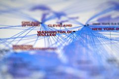 Close up look at Map details highlight Washington dulles airport. And newyork royalty free stock photo
