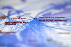 Close up look at Map details highlight washington and newyork. Map details highlight washington dulles airport and new york newark airport royalty free stock photo