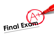 Close up look at A Plus on exam paper Stock Images