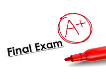 Close-up look of A plus grade. Over final exam paper Stock Images