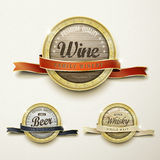 Close up look at premium quality wine golden labels Royalty Free Stock Photo
