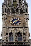 Close-up look of rathaus tower clock in Munich, Germany Royalty Free Stock Photography