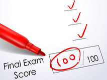 Close up look at score on final exam paper Royalty Free Stock Image