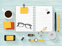 Close up look at workplace objects in flat design. Style Royalty Free Stock Photography