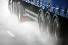 Close up lorry wheels on a highway Royalty Free Stock Photo