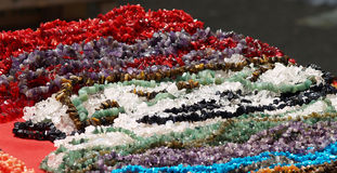 Close up with a lot of beads. Close up withm jewelry made from a lot od beads Royalty Free Stock Photo