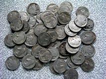 Close-up of Indian Head Buffalo Nickels. Close-up of Lot of Indian Head Buffalo Nickels royalty free stock image