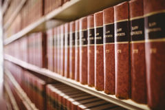 Close up of a lot of law reports. In library Royalty Free Stock Image