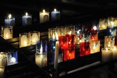 Close-up on lot of religious candles Stock Image