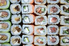 Close-up of a lot of sushi rolls with different fillings. Macro shot of cooked classic Japanese food. Background image.  royalty free stock images