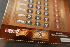 Close up lottery ticket on bonus section. Royalty Free Stock Images