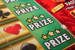 Close up lottery ticket on prize section. Stock Photography