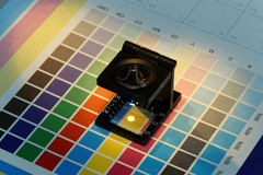 Close-up of a loupe on a test print Stock Photo