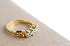 Close up love diamond ring on book Royalty Free Stock Image