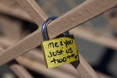 Love Locks at Brooklyn Bridge New York City royalty free stock photo