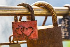 Romantic padlocks, symbol for long life in marriage and love. Close-up of Love locks, romantic symbol for long life in marriage and love royalty free stock photography