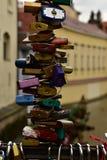 Close-up love padlocks on the bridge in Prague. Close-up of love padlocks cover in Prague, Czech Republic, Europe Royalty Free Stock Photos