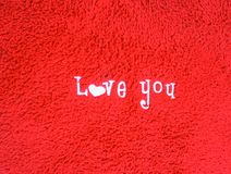 Love you character on red background royalty free stock photography
