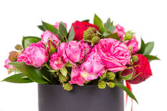 Close up of lovely bouquet of pink and red roses isolated on whi Royalty Free Stock Photography
