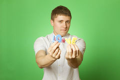 Close-up lover man holding the letter love Royalty Free Stock Photography