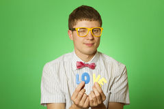 Close-up lover man holding the letter love Royalty Free Stock Photos