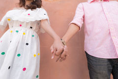 Close up of lovers couple holding hands Royalty Free Stock Photo