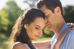 Close-up of loving couple embracing in park Stock Image