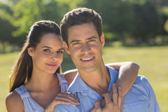 Close-up of loving and happy couple at park Stock Photos