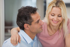 Close-up of a loving man looking at happy woman Stock Images