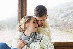 Close up of a loving young couple in winter clothing Stock Photography