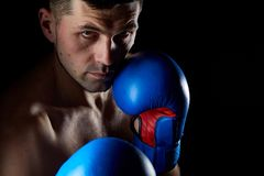 Close up low key portrait of an aggressive muscular fighter, showing his fist isolated on dark background. Close up low key portrait of a aggressive muscular Royalty Free Stock Photography