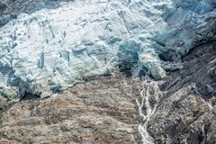 Close up on the lower end of The Bossons glacier, in Chamonix Mont Blanc Massif, The Alps France Royalty Free Stock Photo