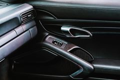 Close up on luxory car. door inside view royalty free stock photo
