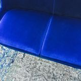 Close-up of a luxurious blue velvet sofa Stock Photo