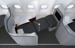 Close-up of luxurious business class seat with frosted acrylic partition. 3D rendering image in original design Stock Image