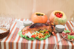 Close-up of luxurious rural-style catering table in restaurant ready for wedding celebration Royalty Free Stock Photos