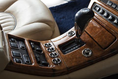 Close up of luxury vintage car gearbox. Lever stock photos
