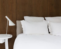 Close up of luxury white linen with walnut lining boards on the Stock Photography