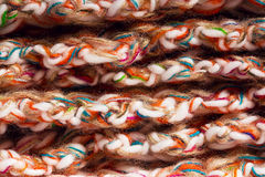 Close up lying colourful threads of scarf Royalty Free Stock Photos