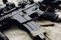 Close-up of a M4A1 weapons and military equipment for army Stock Images