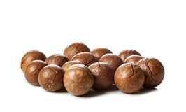 Close up of Macadamia Nuts isolated on white background.  stock photography