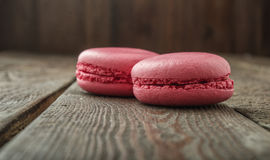 Close up macaroons on  wooden table Stock Photos