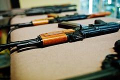 Close up machine guns on shooting range. Royalty Free Stock Photography