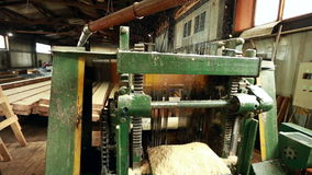Close-up of machine running and flying shavings stock video footage
