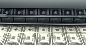 Close-Up of Machine Tool Prints Dollar Bills