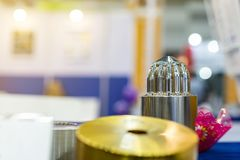 Close up machining part of mold or die metal or steel make by automatic high technology accuracy and precision Computer stock photo